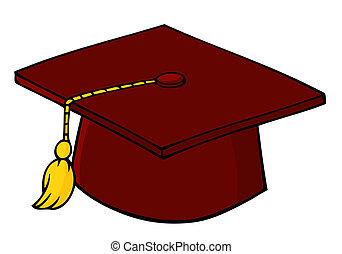 casquette, rouges, remise de diplomes