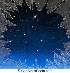 cassé, étoile, clair, fenêtre