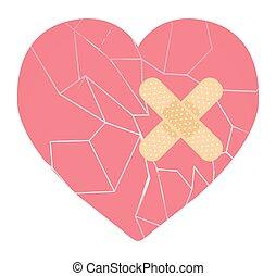 cassé, bandage, coeur