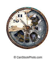 cassé, cadran, grunge, horloge
