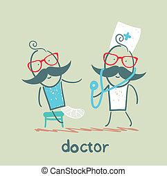 cassé, docteur, malade, jambe