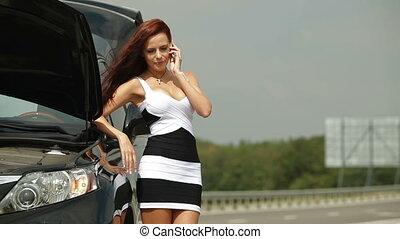 cassé, femme, elle, voiture