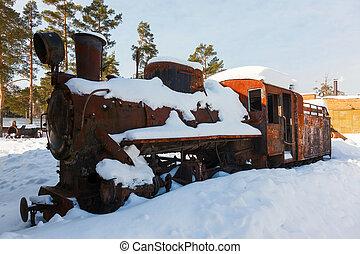 cassé, ferroviaire, vieux, neige, locomotive