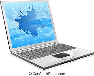 cassé, ordinateur portable, écran