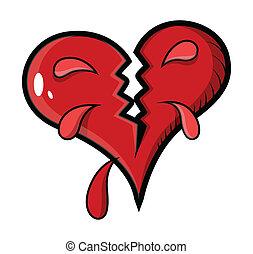 cassé, vecteur, -, illustration, coeur