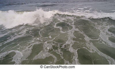 casse, grand, océan, vague bleue