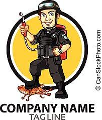 casse-pieds, dessin animé, logo, contrôle