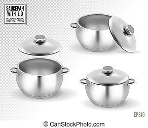 casseroles, ensemble, illustration, réaliste, lid., vecteur, 3d