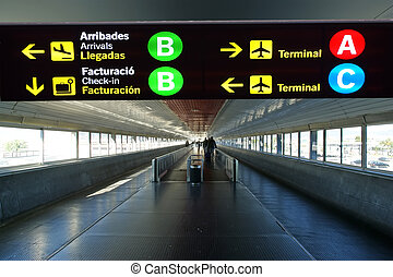 catalogne, directionnel, barcelone, signe, aéroport., international, espagne