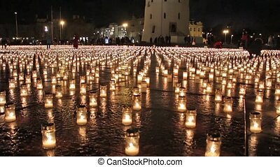 cathédrale, carrée, bougies