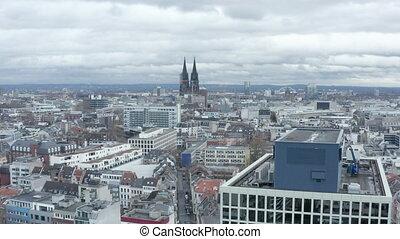 cathédrale, cologne, majestueux, nuageux, prise vue large, air, jour, allemagne, aerial: