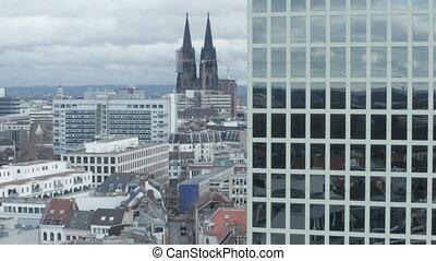 cathédrale, cologne, premier plan, majestueux, nuageux, prise vue large, bureau, air, jour, allemagne, bâtiment, aerial: