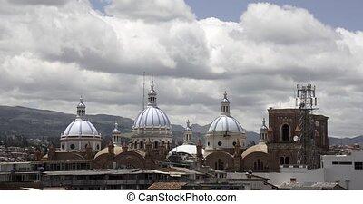 cathédrale, dômes, -, temps, mouche, nuages, défaillance, nouveau