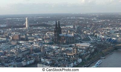 cathédrale, ensoleillé, cologne, majestueux, prise vue large, air, jour, allemagne, aerial: