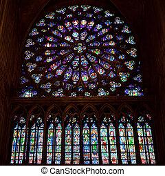 cathédrale, fenêtre rose, dame, notre