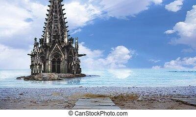 cathédrale, moitié, mer, couler