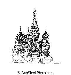cathédrale, vue, basilic, illustration, vecteur, urbain, saint, moscou