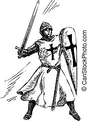 catholique, chevalier, graphique, vecteur
