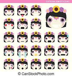catrina, emoticons
