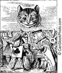 cat's, gravure, bourreau, original, découpage, roi, tête, sur, argues, cheshire, -, pays merveilles, aventures, alice's, vendange, fermé