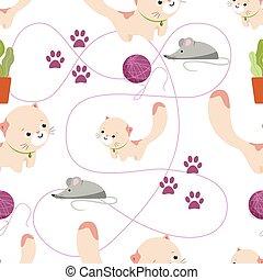 cats., plat, dessin animé, style