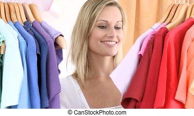 caucasien, article, femme, choix