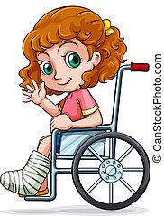 caucasien, fauteuil roulant, girl, séance
