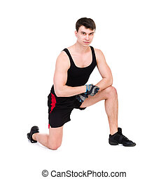 caucasien, séance entraînement, s'exercer homme, fitness