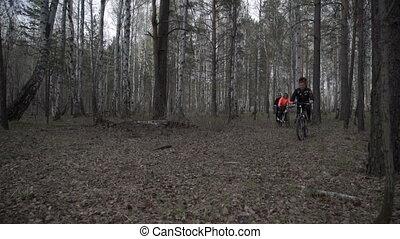 cavalcade, bois, vélo, gens