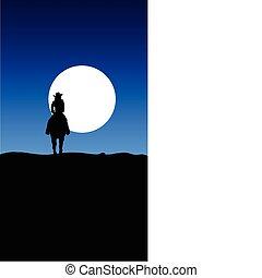 cavalcade, cow-boy, illustration, lune