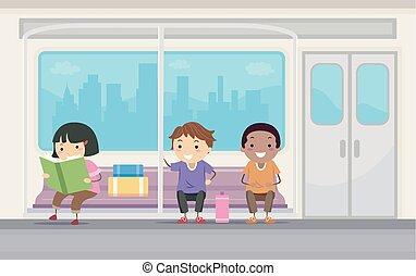 cavalcade, gosses, stickman, métro, illustration