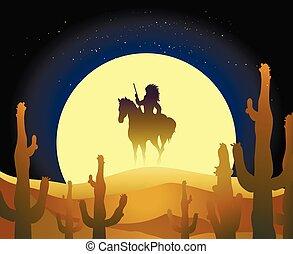 cavalcade, indien, cheval, désert