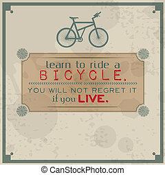 cavalcade, vélo, apprendre
