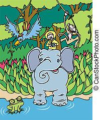 cavalier, éléphant