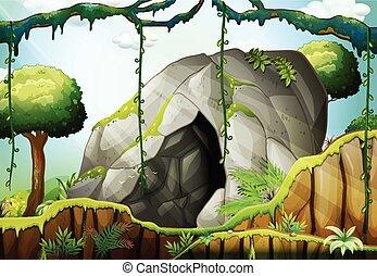 caverne, forêt, profond