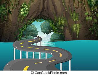 caverne, route, long