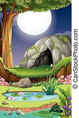 caverne, scène, fond, nuit