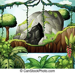caverne, scène, profond, forêt