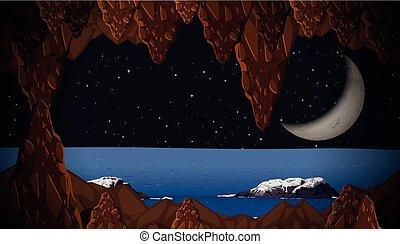 caverne, vue, croissant de lune