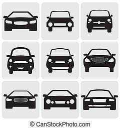 ceci, couleur, luxe, graphic., contre, symboles, côté, compact, view-, icons(signs), vecteur, devant, voiture, illustration, arrière-plan noir, représente, blanc, car's, neuf, passager