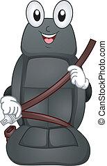 ceinture, siège, mascotte