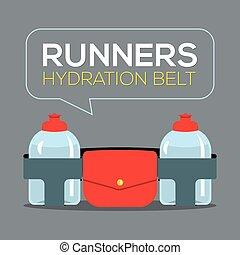 ceinture, vecteur, coureurs, illustration, hydration