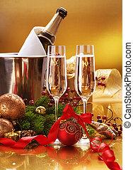 celebration., nouveau, champagne, année