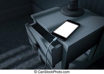 cellphone, éclairé, lit, suivant