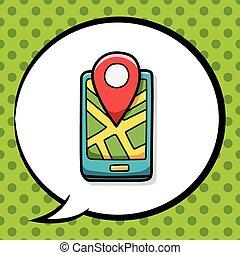 cellphone, carte, griffonnage