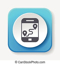 cellphone, carte, icône