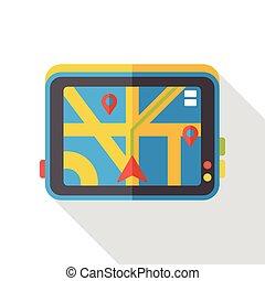 cellphone, carte, plat, icône