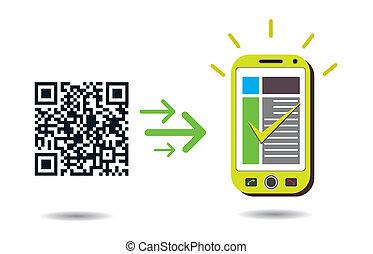 cellphone, code, traitement, qr