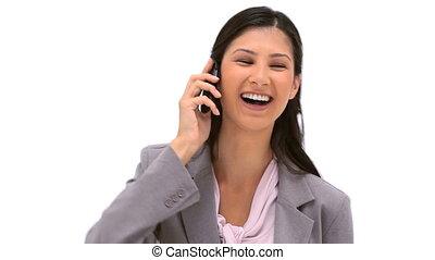 cellphone, elle, utilisation, sourire, brunette, femme