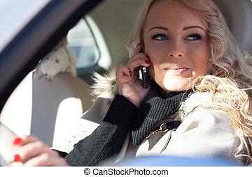 cellphone, femme, elle, chauffeur, jeune, conversation